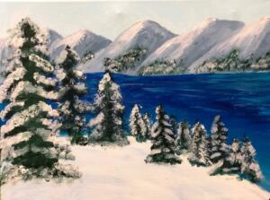 Snowy Landscape by Lake Tahoe