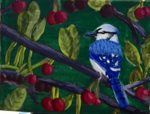 Blue bird on cherry trree, easy version