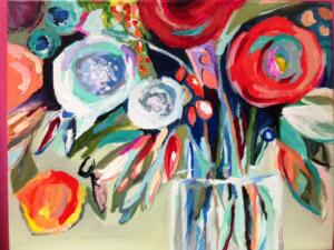 Bunch of Flowers in a Vase, abstract