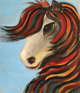 Horse with colorful main