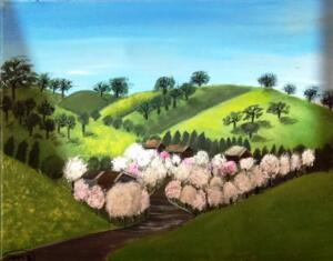 Green hills scenery with blossom trees