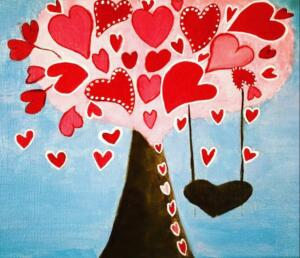 Love Tree with a swing, Valentines Day