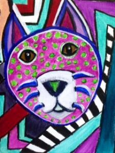 Purple Picasso cat