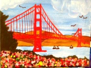 Colorful Flowers by  Golden Gate Bridge
