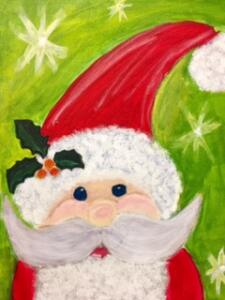 Santa with shiny green background