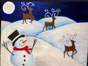Moonlight over Snowman & Reindeers