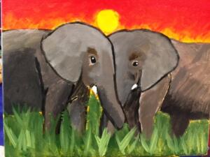 Elephants by the sunset