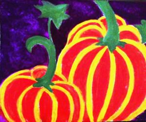 Two Orange Pumpkins, purple background