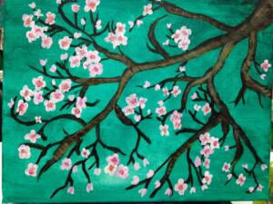 blossom branches, teal background