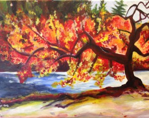 Fall tree by the river