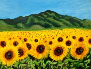 Sunflowers by the mountains