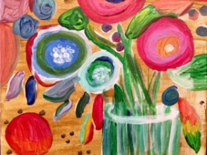abstract flowers in a vase
