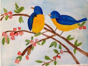 blue and yellow birds