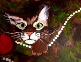 Cat playing with pearl-necklace