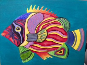 Colorful fish with design