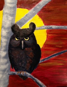 Owl at the sunset