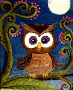 Owl under the moon with pink beaded flowers