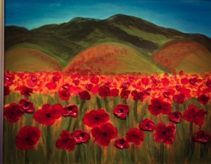 Red poppies by the hills #1
