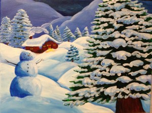 Snowy landscape with pine trees & a snowman