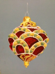 Gold & red ornament with green beads # 2