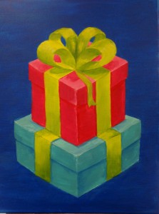 Blue & red gift boxes