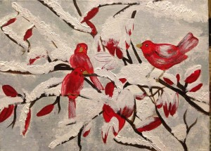 Red sparrows in snow