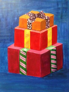 3 Gift Boxes with striped ribbons