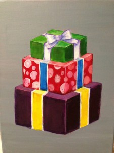 3 Gift Boxes, Green, purple, polk a dot