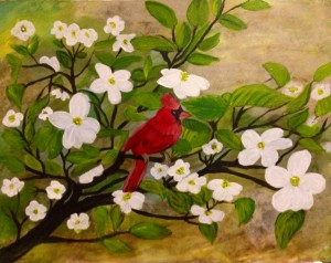 Red Cardinal on blossom branches