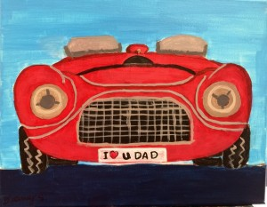 red car, love u dad