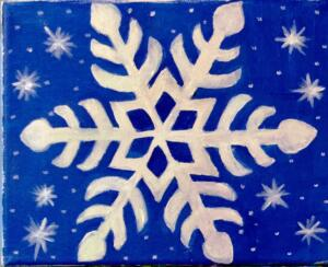 snow flakes blue back