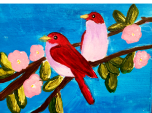 two-pink-red-birds-on-branch-300x224