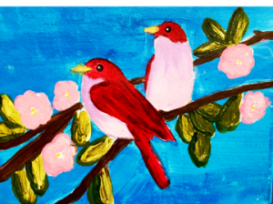 Two pink & red birds on branch