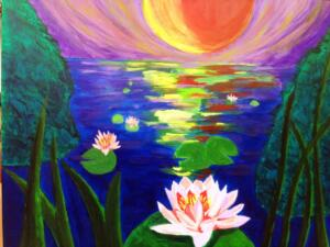 Water lilies by sunset