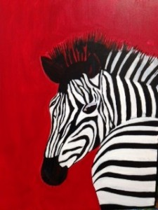 Zebra with red background