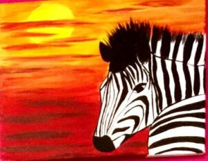 zebra with sunset